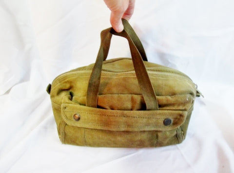 CONDOR Canvas Leather Bag Duffel GREEN Camping Military Pockets