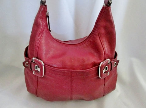 TIGNANELLO leather hobo satchel shoulder saddle bag CHERRY RED pockets purse
