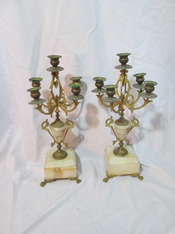 Set Antique 1900s FRENCH Brass PINK Stone Candelabra Architectural Salvage Candle Holder