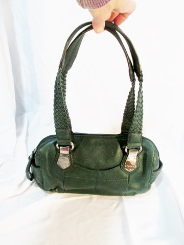 TIGNANELLO LEATHER bowler satchel shoulder tote bag purse travel GREEN duffel