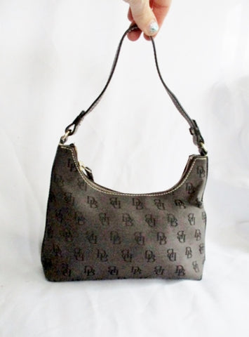 DOONEY & BOURKE Signature Logo Satchel Hobo Shoulder Bag BLACK Boho