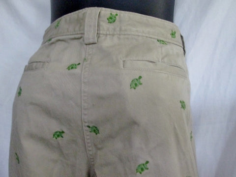 Womens J. CREW Embroidered TURTLE Cotton Capri Cropped Pants 8 Beige Tan