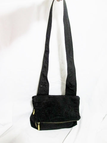 MAXX leather nylon envelope bag flap man purse BLACK crossbody shoulder zipper