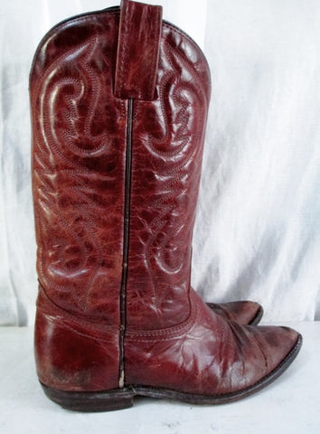 Womens Made in Canada Western Cowboy Buckaroo Leather BOOTS Shoes BROWN 6.5