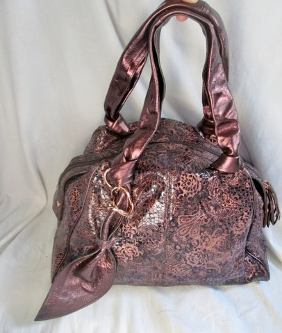 NEW LA GIOE DI TOSCANA Ltd Edition leather paisley tote clutch bag satchel bowler COPPER METAL