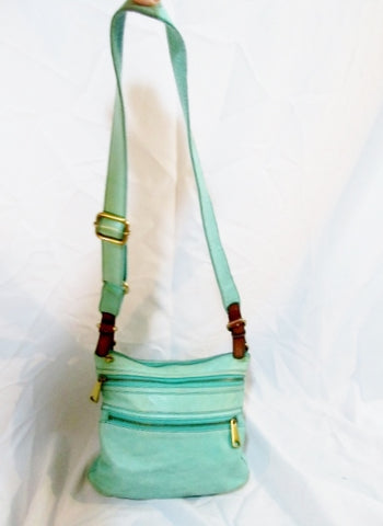 FOSSIL leather shoulder bag crossbody AQUA BLUE messenger purse MERMAID handbag