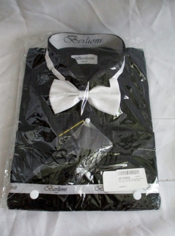 NEW BERLIONI ITALY Pleated Tuxedo French Cuff Shirt BLACK 16-16.5-32/33 Bowtie