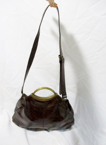 HOBO INTERNATIONAL Leather Satchel Purse Shoulder Bag BROWN Loop Hoop Clutch
