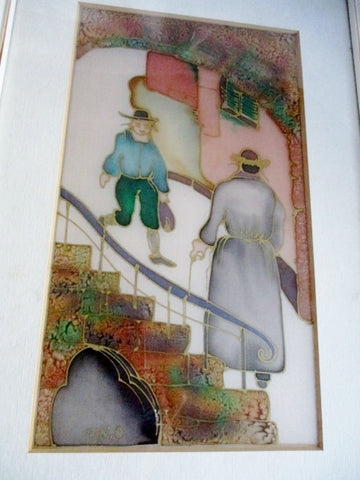 HAND PAINTED SILK ISRAEL MEN STAIRCASE Colorful Wall Art FRAME COA 15.5 x 10.5""