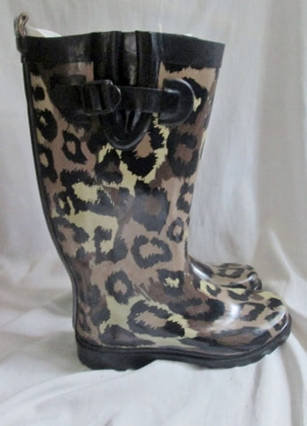 Womens CAPELLI LEOPARD JAGUAR CHEETAH PRINT Wellies Rain Boots Foul Weather 9 Gumboots