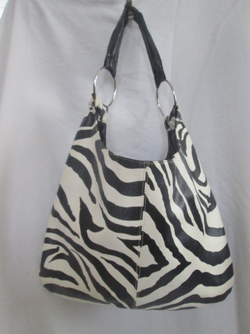 ATTENTION vegan shoulder bag hobo carryall satchel ZEBRA BLACK WHITE L Stripe