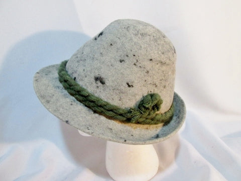 Vintage Mens COLLINS WIEN SALZBURG WOOL hat fedora GRAY OKTOBERFEST Braid Green Millinery