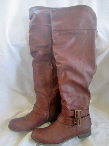 EUC Womens JUST FAB Vegan Thigh Over Knee Riding BOOTS BROWN 10 AURELEE