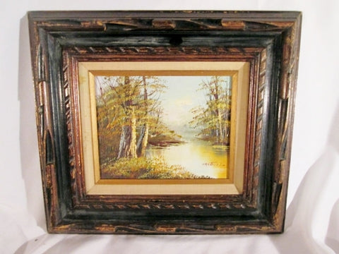 Signed Vintage Framed Landscape Painting Michigan Artist Phillip Cantrell ART FRAME Trees Lake