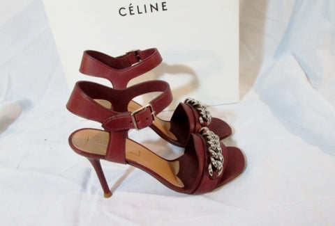 NEW CELINE PARIS ITALY BORDEAUX LEATHER Sandal 90 Shoe 36 / 6 RED Silver Womens High Heel