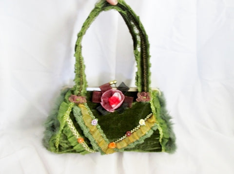 NEW Victorian Velvet Steampunk Floral Purse Satchel Handbag FUR GREEN Ruffle Cute!
