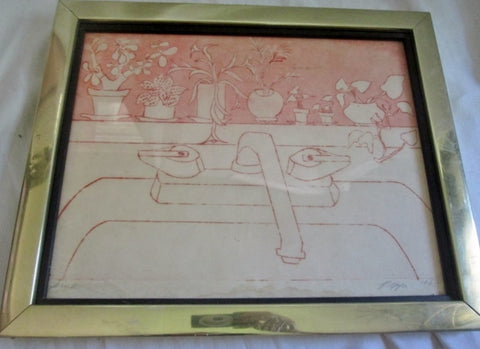 "Vintage 1969 SIGNED PEPPI / PIPPI ""THE SINK"" LITHOGRAPH Frame Picture ART PINK WHITE"