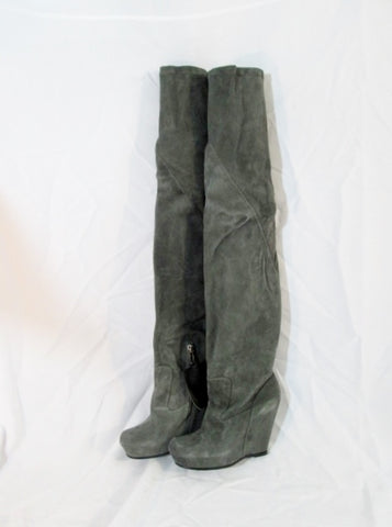 NEW Womens RICK OWENS Suede Leather Thigh High Wedge Boot ITALY 36.5 GRAY