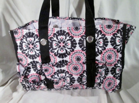 Thirty One 31 Vegan Nylon Tote Carryall Shopper shoulder bag BLACK WHITE PINK
