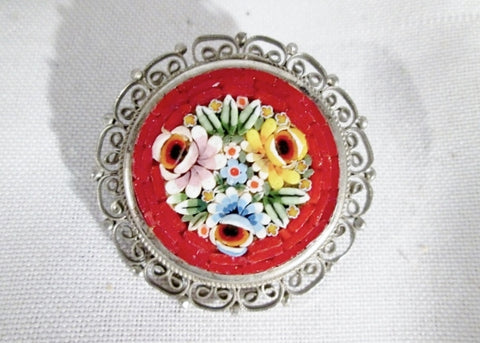 Vintage Antique ITALIAN MURANO GLASS MOSAIC Pin Brooch Filigree RED FLORAL ITALY