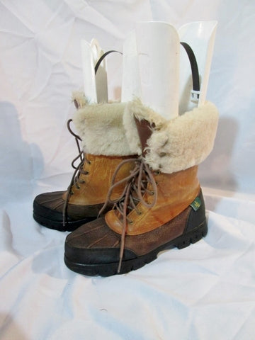 Womens RALPH LAUREN QUINTA Leather Duck Boot BROWN 7 Shearling Fur