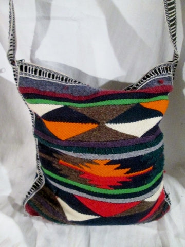 Aztec Maya Kilim Wool Blanket Ethnic Tapestry Carpet Shoulder Bag Purse SERAPE Crossbody