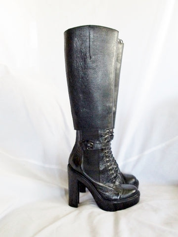 GIVENCHY ITALY LEATHER Tall Victorian Steampunk Sheath BOOT BLACK 37 6.5 Womens