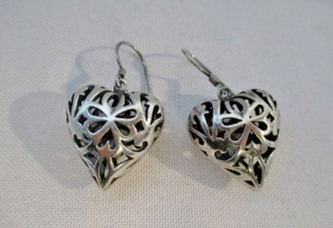 925 STERLING SILVER LOVE HEART Celtic Lattice Pierced EARRING 13g Jewelry Statement