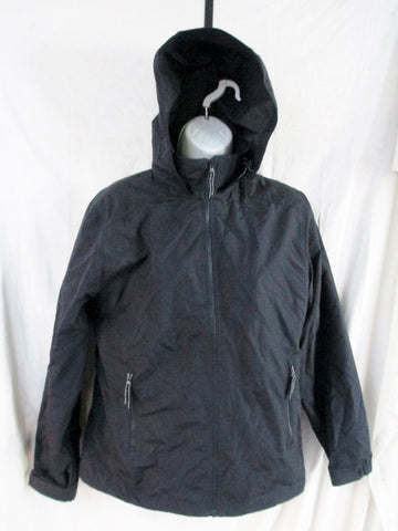 EUC Womens LAND'S END PUFFER Hooded JACKET Coat Windbreaker BLACK S 6-8