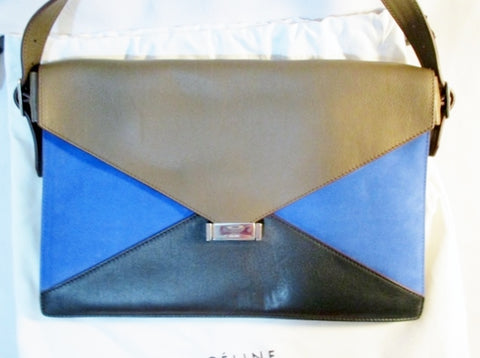 NEW NWT CELINE DIAMOND Purse MEDIUM Shoulder Bag ROYAL BLUE Suede Leather