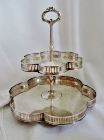 Hors D'Oeuvres Sandwich Cake Plate Silverplate 2 Tier Serving Tray Dish Pedestal Party