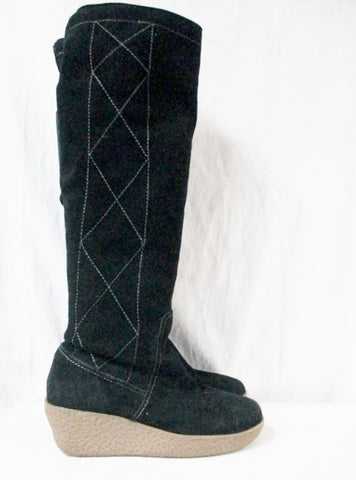 Womens OH DEER! ENVY Suede Leather Knee High BOOTS Shoes Stitch BLACK 8