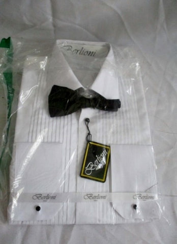 NEW BERLIONI ITALY Pleated Tuxedo French Cuff Shirt WHITE 14-14.5-32/33 Bowtie