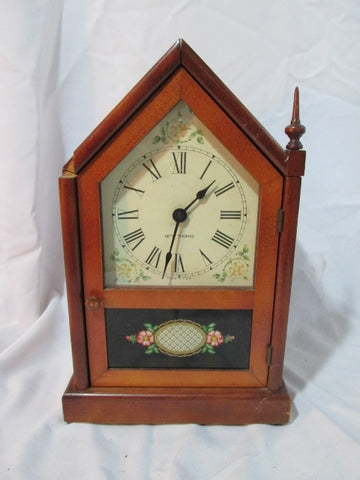 Vintage SETH THOMAS 1960s Wood STEEPLE CLOCK Shelf Mantel USA Electric Floral Display