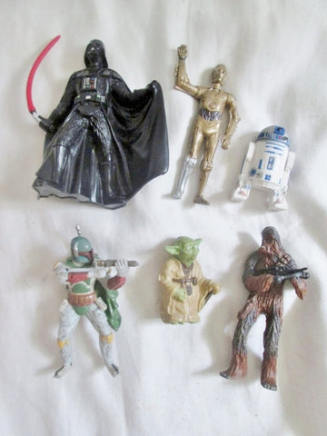 Set Lot 6 Minifig Star Wars Collectible Figurine Toy LUCASFILM DARTH VADER YODA C3PO CHEWBACCA +