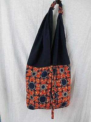NEW handmade Africa Ethnic Tribal market tote shopper beach storage Navy Orange