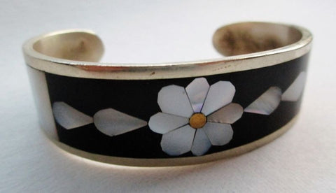Southwestern MEXICAN SILVER Onyx Mother of Pearl Bracelet Cuff Bangle Arm Band