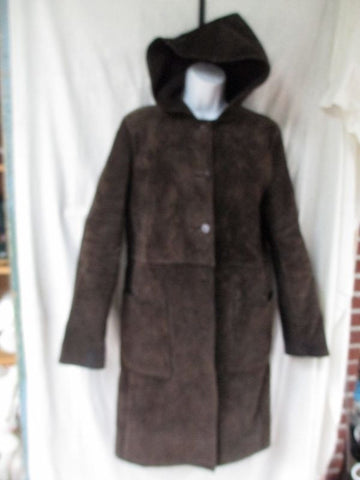 Womens KENNETH COLE REACTION Hood SUEDE long maxi jacket coat parka BROWN M