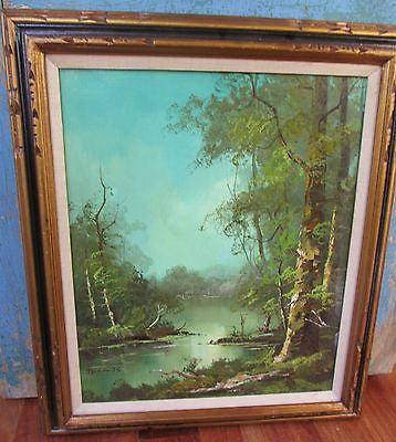 Vtg SIGNED THOMAS Original Painting Art Wood Frame RIVER TREE Landscape Lake GREEN