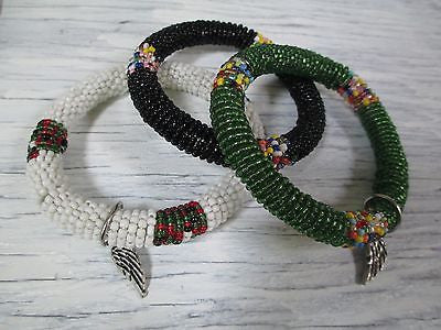 Set AFRICA TANZANIA MALAIKA FOR LIFE BRACELET Tribal Ethnic Cuff BEAD Bangle