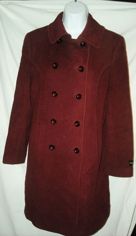 Womens LARRY LEVINE Long CASHMERE  jacket coat Peacoat BURGUNDY RED 4