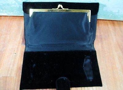 Vtg BD Bienen-Davis velvet clutch handbag evening bag change purse Hanky black