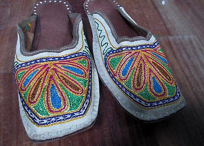 Womens LEATHER Sandal Slip On Shoes Mule Embroider Slipper Ethnic Asia WHITE 6
