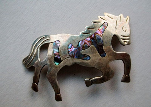 Pin Brooch Southwestern SILVER ABALONE Mexico Hors Pony Stallion Foal Equestrian