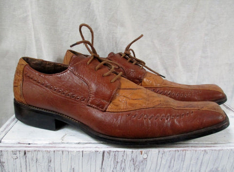 Mens ITALIC LEATHER Oxford SHOE Cowboy Western Stitch Square Toe Fancy BROWN 11