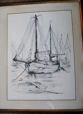 Vtg SIGNED Ltd Original CLAUDE PIECHAUD Nautical Boat MARINE 1 Art Print ETCHING