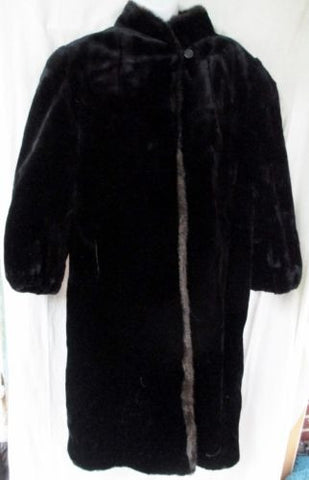 Vintage Womens STYLE VI LTD Faux MINK FUR Maxi long jacket coat parka BLACK M