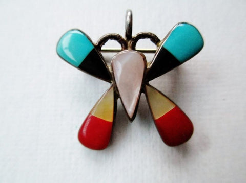 Pin Brooch Southwestern STERLING SILVER BUTTERFLY Turquoise Inlay Bug Insect