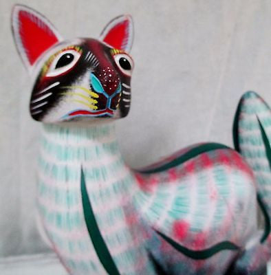 Signed Hand Painted Mexican Mexico Oaxaca Wood Carving Animal FOX CAT Sculpture