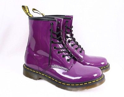 Womens DOC MARTENS LEATHER Ankle Combat BOOT Shoe PURPLE 6 AIRWAIR 8 Eye